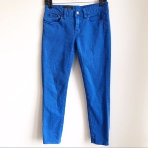 J. Crew toothpick 26 ankle garnet dyed blue jeans